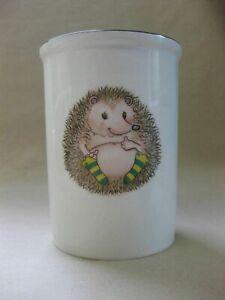 Vintage Arthur Wood Utensil Holder / Canister ~ Cute Hedgehog in Socks