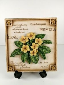Marks And Spencer Hand Painted Wall Plaques with Yellow Primulas Flower