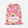 Personalised Bee Happy Girls Children's PE Swimming School Kids Drawstring Bag