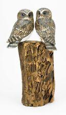 Archipelago Hand Carved Wooden Birds Double Owl Block