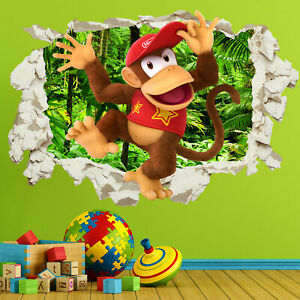Diddy Kong Wall Sticker Decal in Crack Smashed Bedroom Kids Gift Home Decor