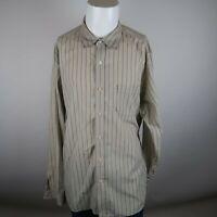 Lucky Brand Khaki Blue Long Sleeve Button Up Stripe Cotton Casual Shirt Mens 2XL