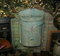 Primitive Antique Vtg Style Robin Egg Blue Bird Tin Metal Hanging Mail Post Box