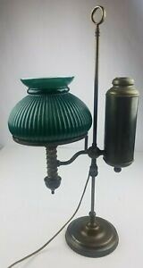 Antique 19th Century Brass Student Lamp With Green Shade