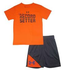 Under Armour Boys S/S Orange Record Setter Top 2pc Short Set Size 5