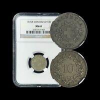 1876 B Switzerland 10 Rappen (Silver Billon) - NGC MS61 (BU / UNC)