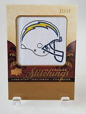 2008 UD PREMIER STITCHINGS LADAINIAN TOMLINSON HELMET PATCH #11/15 RARE CHARGERS