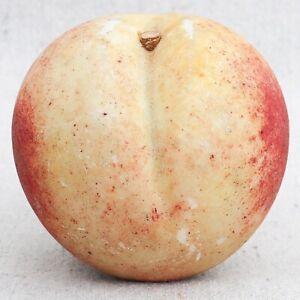 "Vintage Hand Carved Italian Alabaster Fruit Nectarine Peach Stone Fruit 3"""
