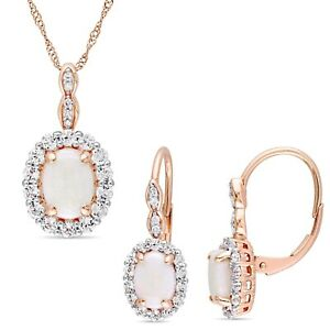 Amour 14k Rose Gold Opal, White Topaz & Diamond Halo Necklace & Earrings Set