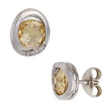 Ovale Ohrschmuck mit Citrin Edelsteinen echten Diamant