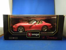 Vintage Red 1992 Bburago Dodge Viper RT/10 1:18 Die Cast Model Car