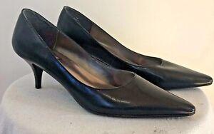 Womens Worthington black leather pointy toe kitten heel pumps sz. 7M New