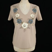 NORTHMOOR Floral Short Sleeve Summer Top Tee 12 14 Taupe Brown Casual T-shirt
