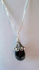 """8ct Faceted Black Cherry Garnet Pendant 925 Sterling Silver Necklace 18"""""""
