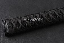 Black Rayskin Handle Black Synthetic ITO Tsuka for Japanese Samurai Katana Sword