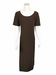 Linea by Louis Dell'Olio Regular Moss Crepe Maxi Dress Chocolate Medium Size