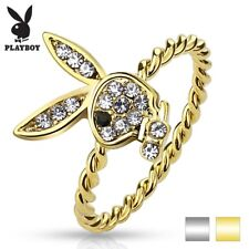 CZ Gem Paved Playboy Bunny Rope Ring