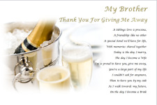 BROTHER Thank you for GIVING ME AWAY GIFT- personalised wedding poem