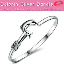 Sterling Silver Charm Vintage Dolphin Bangle Bracelet Jewellery Ladies Gifts UK