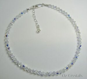 Sparkly Anklet made with Swarovski Crystal AB & Solid Sterling Silver