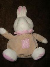 DOUDOU LAPIN RABBIT PLUSH KLORANE beige ROSE  28 cm  , TBE!!!