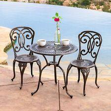 Outdoor Patio Furniture 3pcs Cast Aluminum Bistro Set in Antique Copper