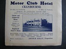 Motor Club Hotel Cranbourne Arthur Kelly 1939 Advert
