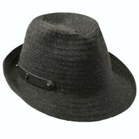 Helen Kaminski XY Delray Teal Wide Brim Straw Fedora Hat NWT L