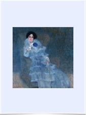 GUSTAV KLIMT MARIE HENNEBERG LIMITED EDITION BLUE BIG BORDERS ART PRINT 18X24