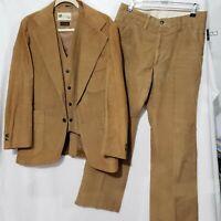 Vtg 1970s LP Levi's Panatela Sportwear Tan/Brown Corduroy 3pcs Suit  40R