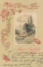 Marburg Drau Maribor Slovenia MARIBORU Prosit Neujahr Prägekarte Künstler 1900