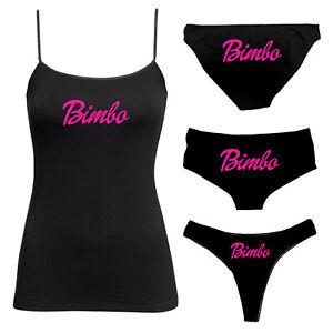 Bimbo Knickers & Camisole Set - BDSM Vest Twin Set - Thong, Boy Shorts - 136