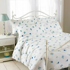 Double White & Blue Rose Printed 100% Cotton Flannelette Duvet Set By Riva Home