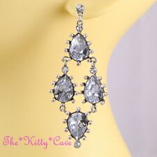 Dramatic Deco Wedding Bridal Chic Statement Pear CZ Crystal Chandelier Earrings