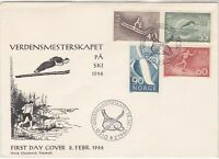 Norway 1966 Ski Jump Pic Skiing Oslo Slogan Cancels FDC Stamps Cover Ref 25697