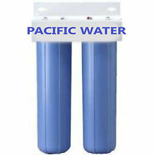 "DUAL BIG BLUE WATER FILTERS HOUSING/Canister For 4.5"" X 20"" Filter with 1""NPT"