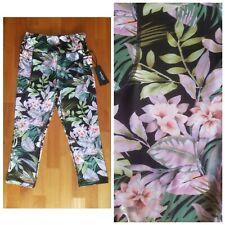 New BEBE SPORT Multicolor Floral Women's XL XLarge Capri Yoga Pants Leggings $69