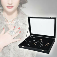 US 100 Slot Jewelry Ring Tray Rings Storage Box Holder Showcase Display With Lid