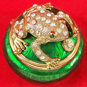 Frog Toad Hinged Lid Trinket Box Enamel Bejeweled Crystal Rhinestones Goldtone