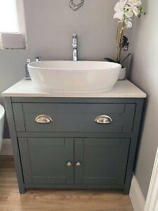 800mm Painted Vanity bathroom cabinet with Quartz Countertop, drawer & two doors