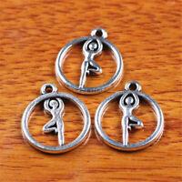 50piece Ohm Yoga Charm Tibetan Silver DIY Jewelry Necklace Bracelet making D7243