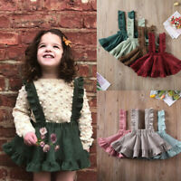 Toddler Baby Kids Girl Strap Skirt Ruched Ruffles Suspender Skirt Overalls Dress
