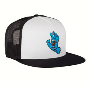 SANTA CRUZ SCREAMING HAND TRUCKER HAT, Snapback, Mesh, Skate Hat, Black+White