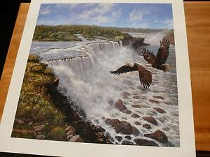 """1993 Frank Miller Large Print EAGLES + WATER FALLS Size W 27"""" x 28"""" Tall"""