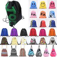 String Drawstring Bag Shoes Sports Gym Swim Dance Shoulder Backpack Scoolbag