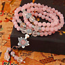 6MM Natural Pink Rose Quartz Multilayer Flower Charm Beaded Bracelet Necklace