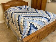 Super King Size Machine pieced Bargello patchwork quilt top #x-26 Made in Usa