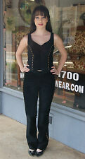 Vintage 80s Black Suede Spandex Pants Top Outfit by Cache - Size 2