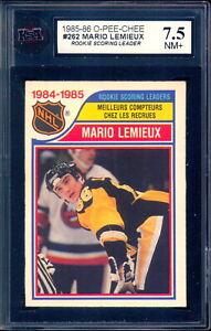 1985-86 OPC O PEE CHEE #262 Mario Lemieux Rookie Leader KSA 7.5 NM + Penguins