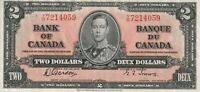 Vintage Canada 2 Dollar Banknote 1937 Gordon Towers Pick 59b Y/B Crisp